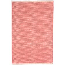 Herringbone Woven Cotton Coral Area Rug