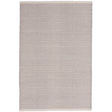 Herringbone Woven Cotton Dove Grey Area Rug