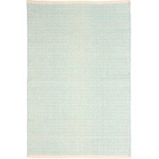 Herringbone Woven Cotton Sky Blue Area Rug