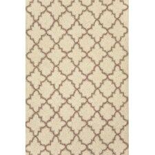 Hooked Plain Tin Ivory Geometric Area Rug