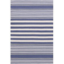 Beckham Denim & White Striped Indoor/Outdoor Area Rug