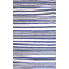 Rugby Stripe Denim Indoor/Outdoor Area Rug