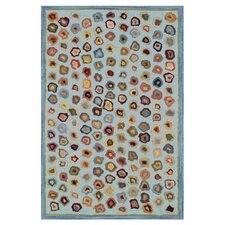 Hooked Cat's Paw Blue Geometric Area Rug