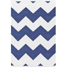 Flat Woven Blue/White Indoor/Outdoor Area Rug
