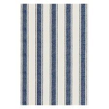 Flat Woven Blue/White Area Rug