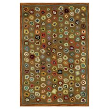 Hooked Cats Paw Brown Geometric Area Rug