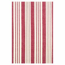 Flat Woven Red/White Area Rug