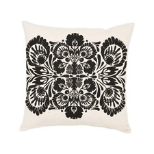 Screen Print Folk Flower Cotton Throw Pillow