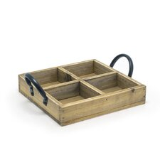 Square Rustic Wood Holder (Set of 2)