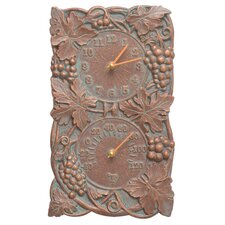 Grapevine Indoor/Outdoor Wall Clock and Thermometer