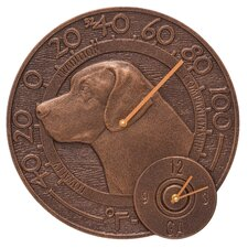 """Labrador 14"""" Indoor/Outdoor Wall Clock and Thermometer"""