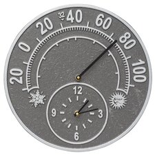 Solstice Indoor/Outdoor Wall Clock and Thermometer