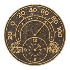 """Sun and Wind 14"""" Indoor/Outdoor Thermometer Wall Clock"""