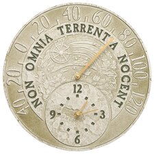 """Celestial 14"""" Indoor/Outdoor Wall Clock and Thermometer"""