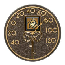 Dard Hunter Rose Indoor/Outdoor Wall Thermometer