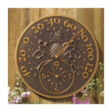 Pineapple Indoor/Outdoor Wall Clock and Thermometer