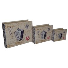 3 Piece Lined Keepsake Book Box with Floral Seashell Design Set