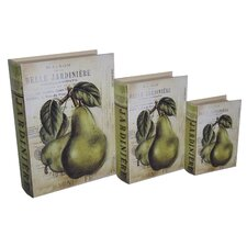 3 Piece Book Box with Vintage Pear Set