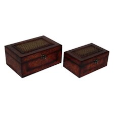 2 Piece Flat Top Wooden Keepsake Box Set