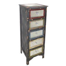 Tall Wood Cabinet with Mirror Top and Mirrored Drawers