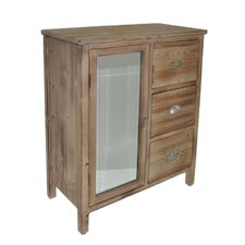 3 Drawer Wood Chest with Mixed Knobs and Bevelled Mirrored Door
