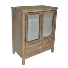 1 Drawer Wood cabinet with Double Bevelled Mirror Doors