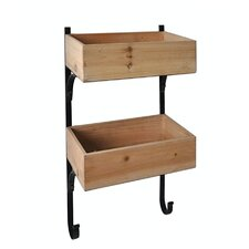 Wooden Wall Storage with Metal Frame