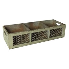 3 Sectioned Crate with Wire Front and Side Handles