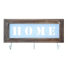 """""""Home"""" Wooden Framed Wall Décor with 3 Hooks"""