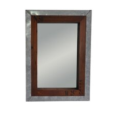 Wall Mirror with Metal and Wood Frame