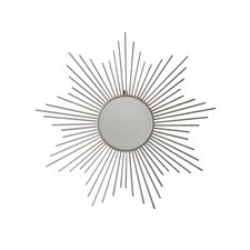 Sunburst Silver Metal Wall Mirror