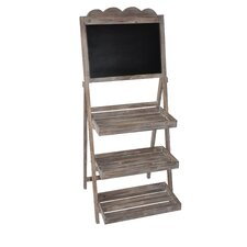 Wooden Stand with Storage Racks Chalkboard