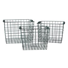 3 Piece Basket Set with Wooden Side Handles