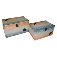 2 Piece Coastal Wood Box with Resin Decal Set