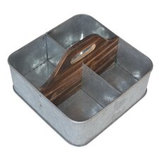 Galvanized Storage Caddy with Wood Center Handle