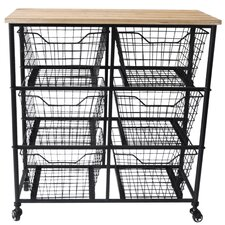 6 Wire Drawer Wood Top Storage Cabinet