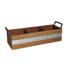 3 Slot Wooden Crate with Side Metal Handles