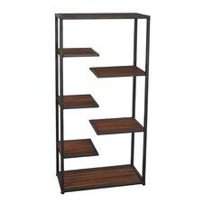"Metal and Wood Open Storage 39.7"" H Five Shelf Shelving Unit"