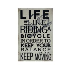 'Life is Like Riding a Bicycle' Textual Art