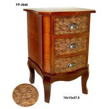 Wooden Fleur De Lis Print 3 Drawer Cabinet