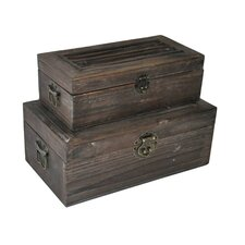 2 Piece Rectangular Garden Trunk Set