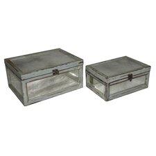 Rectangular Dirty Mirror Keepsake Box (Set of 2)