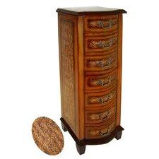 Wooden Fleur De Lis Print 7 Drawer Cabinet