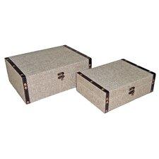 """9"""" Rectangular Box in Plain Linen (Set of 2)"""