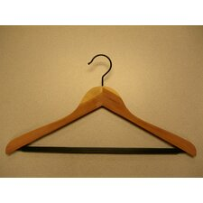 Cedar Concave Suit Hanger with PVC Ribbed Bar (Set of 12)