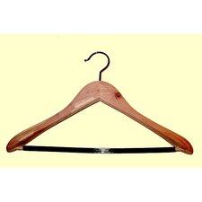 Cedar Contoured Wide Shoulder Suit Hanger with PVC Ribbed Bar (Set of 12)