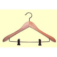 Cedar Contoured Suit Hanger with Clips Wide Shoulder (Set of 12)