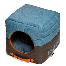 Convertible and Reversible Vintage Printed Squared 2-in-1 Collapsible Dog House Bed