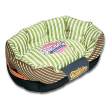 Neutral-Striped Ultra-Plush Rectangular Rounded Designer Dog Bed