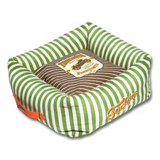 Neutral-Striped Ultra-Plush Easy Wash Squared Designer Dog Bed